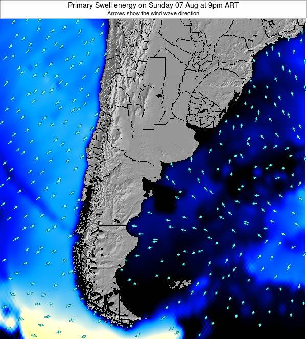 Uruguay Primary Swell energy on Thursday 24 Apr at 3am ART