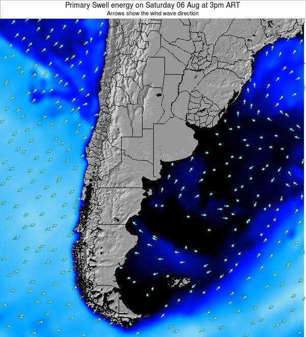 Uruguay Primary Swell energy on Friday 24 May at 9pm ART