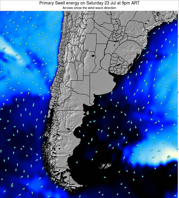 Uruguay Primary Swell energy on Monday 27 May at 9pm ART