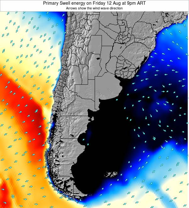 Uruguay Primary Swell energy on Thursday 12 Dec at 9pm ART