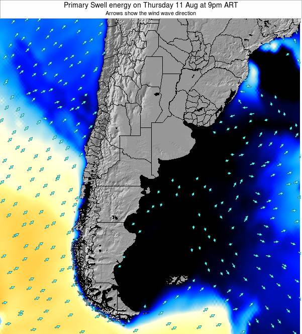 Uruguay Primary Swell energy on Monday 02 Feb at 9am ART
