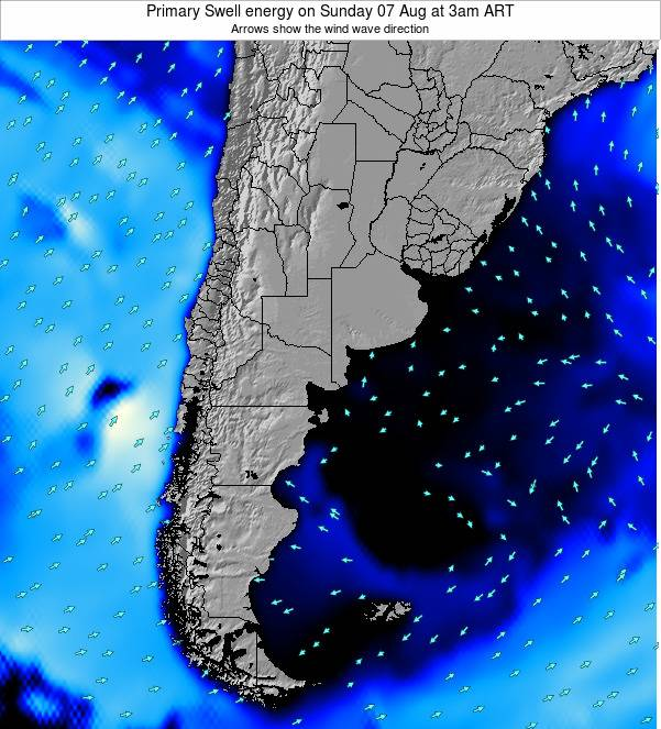 Uruguay Primary Swell energy on Saturday 05 Dec at 3am ART