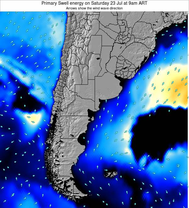 Uruguay Primary Swell energy on Saturday 26 Apr at 9pm ART
