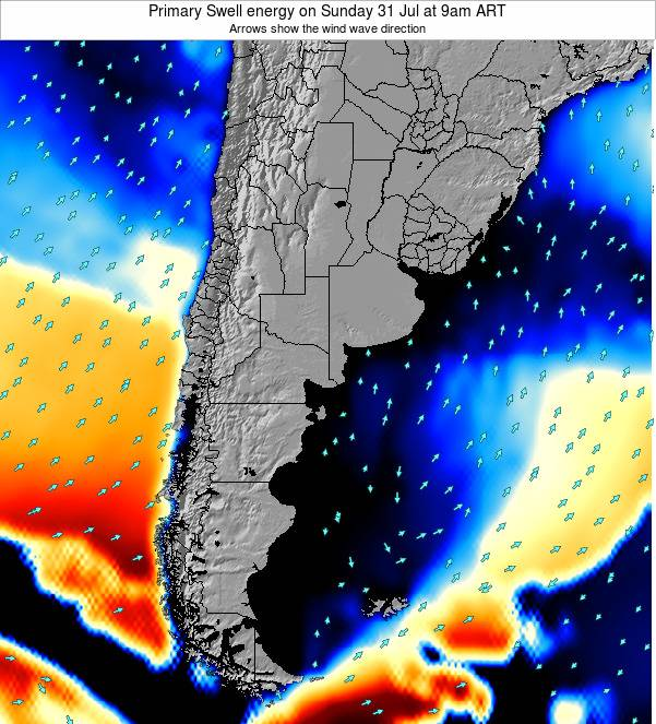 Uruguay Primary Swell energy on Wednesday 30 Jul at 9pm ART
