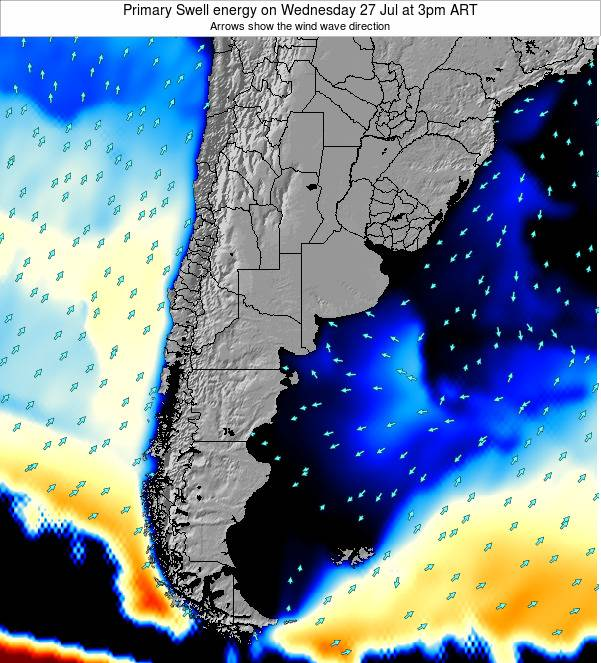Uruguay Primary Swell energy on Monday 28 Jul at 3pm ART