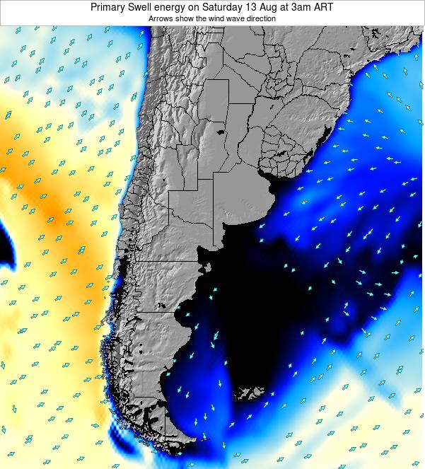 Uruguay Primary Swell energy on Monday 25 Jun at 3pm ART map