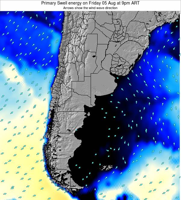 Uruguay Primary Swell energy on Monday 04 Aug at 9am ART