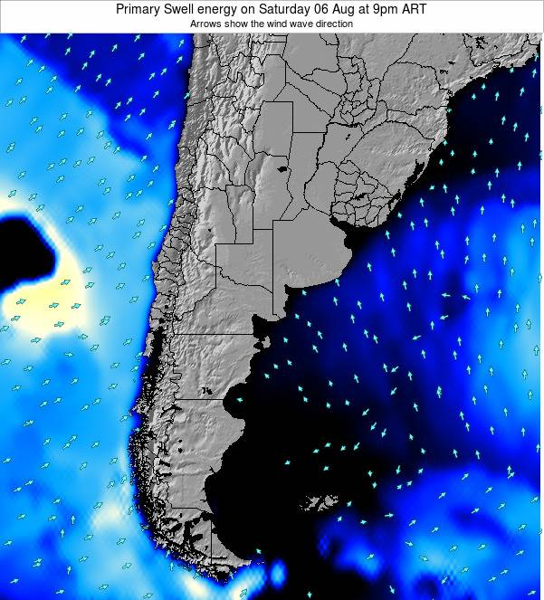 Uruguay Primary Swell energy on Tuesday 03 Feb at 9pm ART