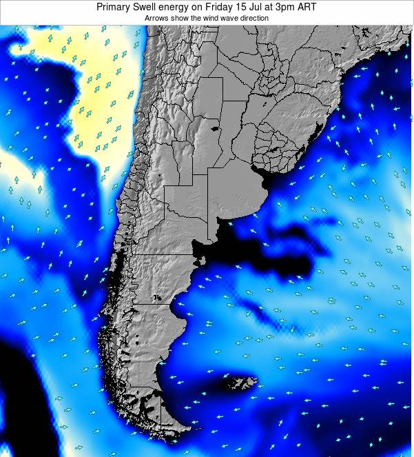 Uruguay Primary Swell energy on Thursday 21 Sep at 9pm ART