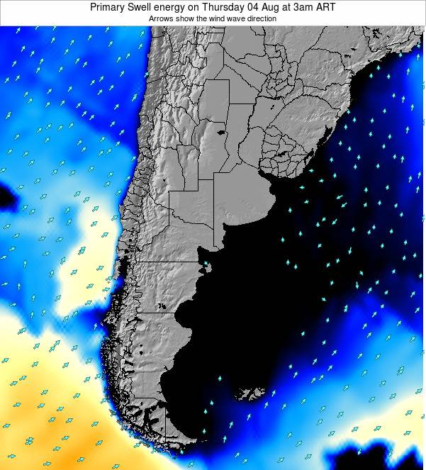 Uruguay Primary Swell energy on Saturday 21 Jan at 3am ART