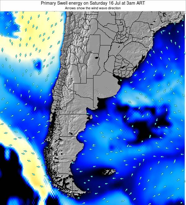 Uruguay Primary Swell energy on Thursday 24 Apr at 9pm ART