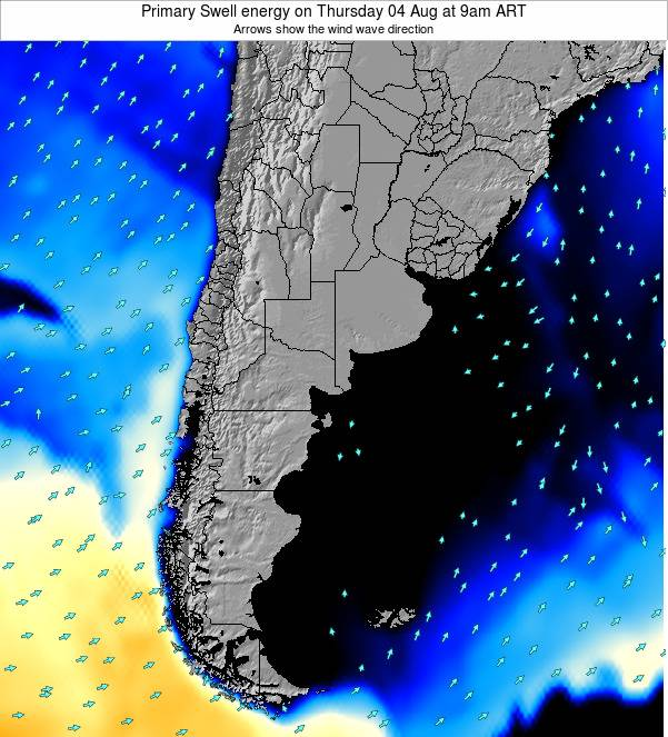 Uruguay Primary Swell energy on Saturday 19 Apr at 9am ART