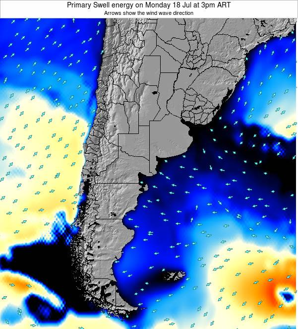 Uruguay Primary Swell energy on Saturday 26 Jul at 3pm ART