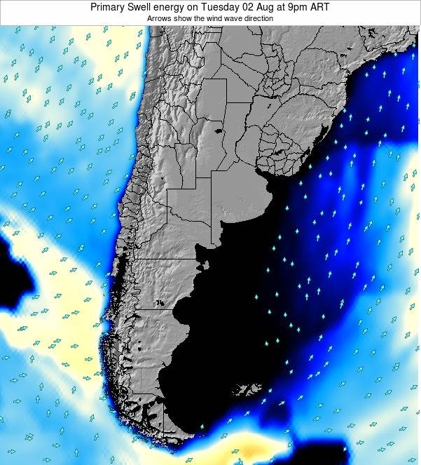 Uruguay Primary Swell energy on Monday 10 Mar at 3pm ART