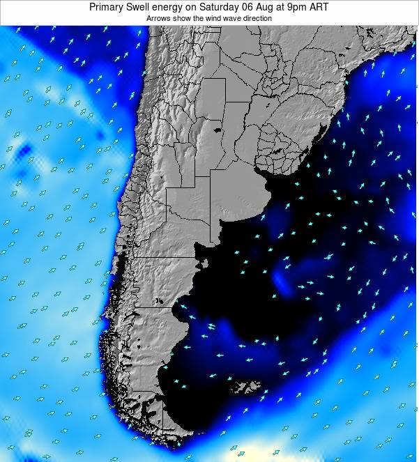 Uruguay Primary Swell energy on Saturday 25 Oct at 9pm ART