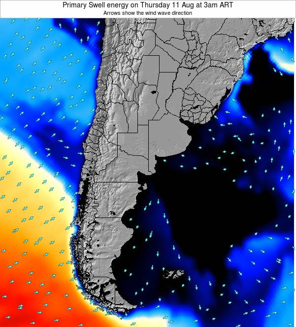Uruguay Primary Swell energy on Monday 20 May at 9pm ART