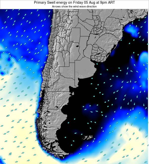 Uruguay Primary Swell energy on Monday 19 Mar at 3am ART map