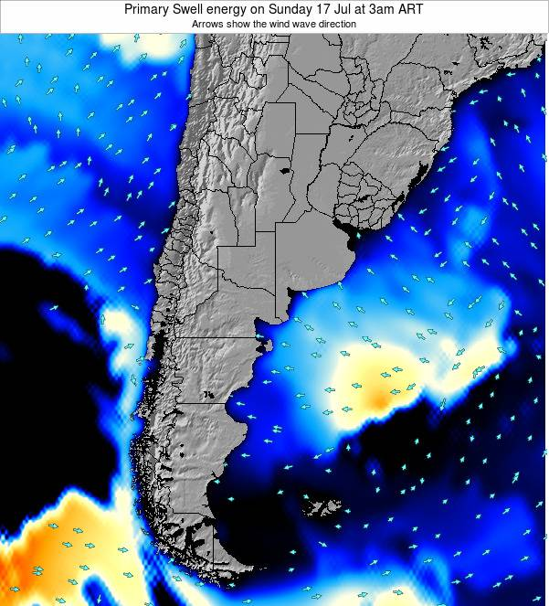Uruguay Primary Swell energy on Monday 01 May at 9am ART