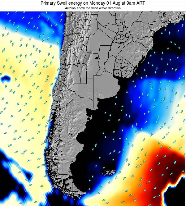 Uruguay Primary Swell energy on Saturday 19 Apr at 3pm ART