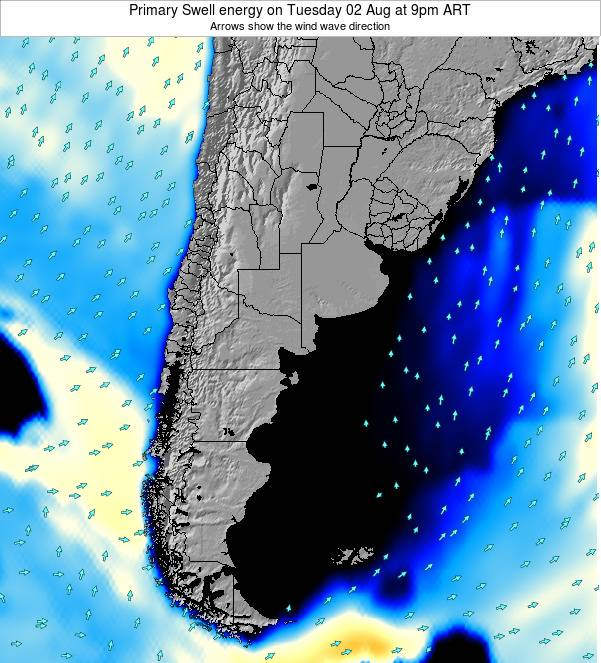 Uruguay Primary Swell energy on Friday 25 Jul at 9am ART