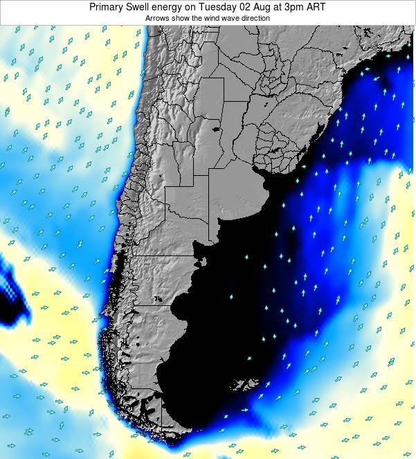 Uruguay Primary Swell energy on Saturday 26 Apr at 9am ART