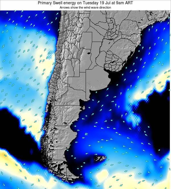 Uruguay Primary Swell energy on Monday 09 Dec at 9am ART