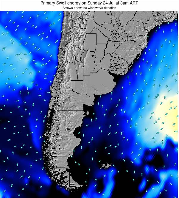 Uruguay Primary Swell energy on Wednesday 12 Mar at 3am ART