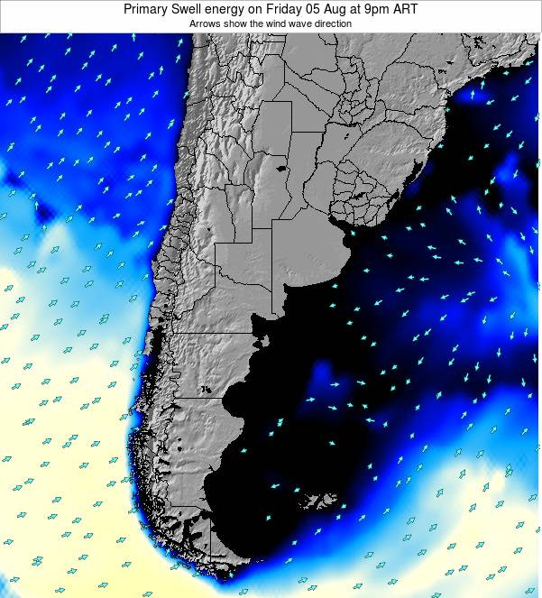 Argentina Primary Swell energy on Saturday 25 May at 9pm ART