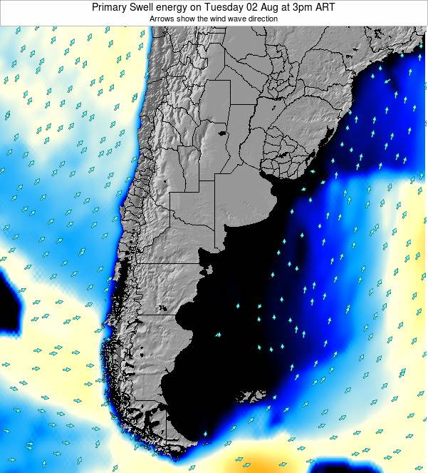 Uruguay Primary Swell energy on Sunday 08 Dec at 3pm ART