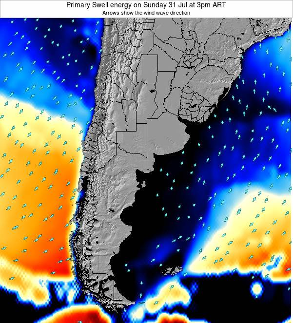 Uruguay Primary Swell energy on Wednesday 23 Apr at 9pm ART