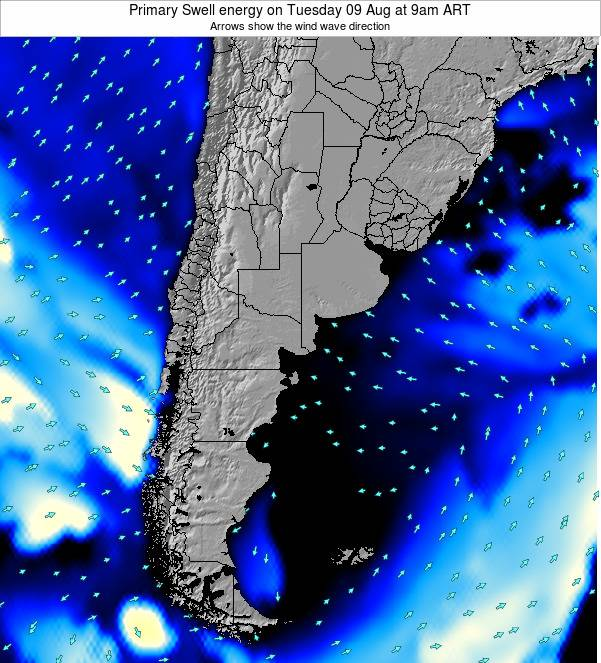 Uruguay Primary Swell energy on Tuesday 28 May at 9pm ART