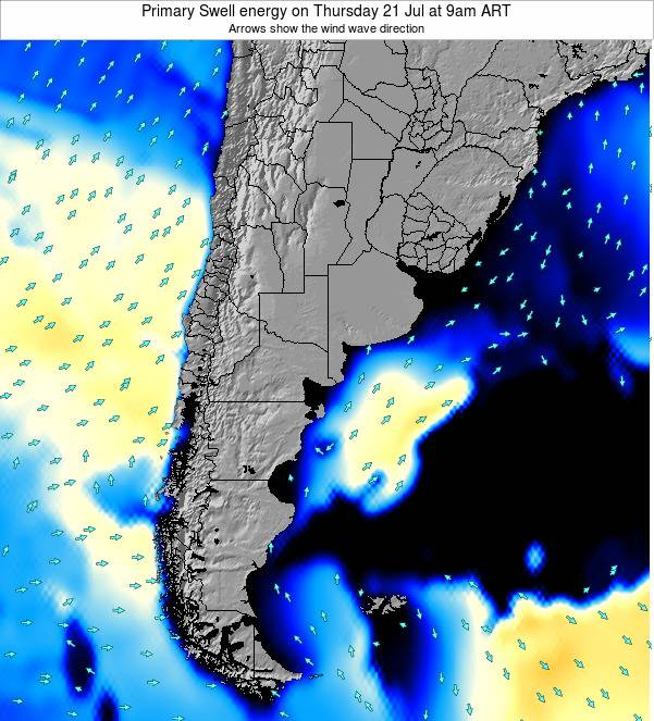 Uruguay Primary Swell energy on Sunday 03 Aug at 9pm ART