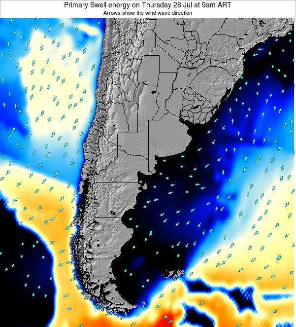 Uruguay Primary Swell energy on Thursday 13 Mar at 9am ART