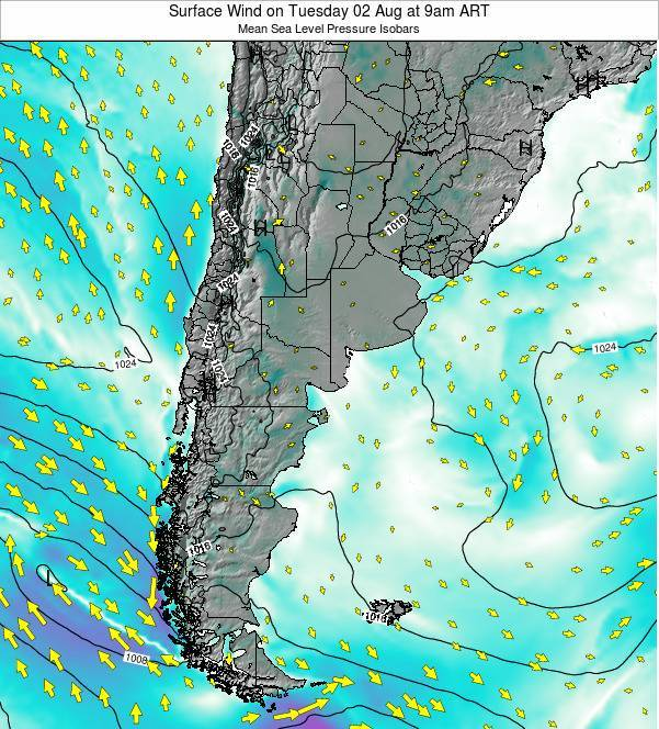 Uruguay Surface Wind on Saturday 18 May at 3pm ART map