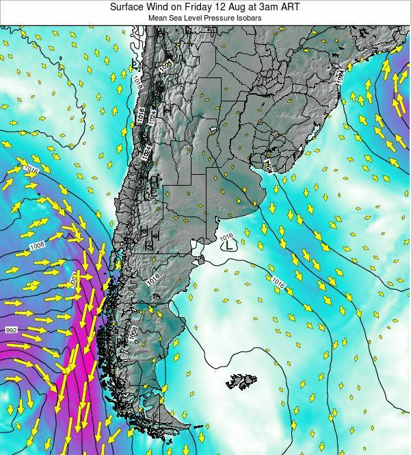 Uruguay Surface Wind on Sunday 23 Jun at 3pm ART map