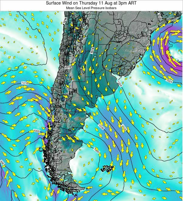 Uruguay Surface Wind on Sunday 26 May at 9pm ART map