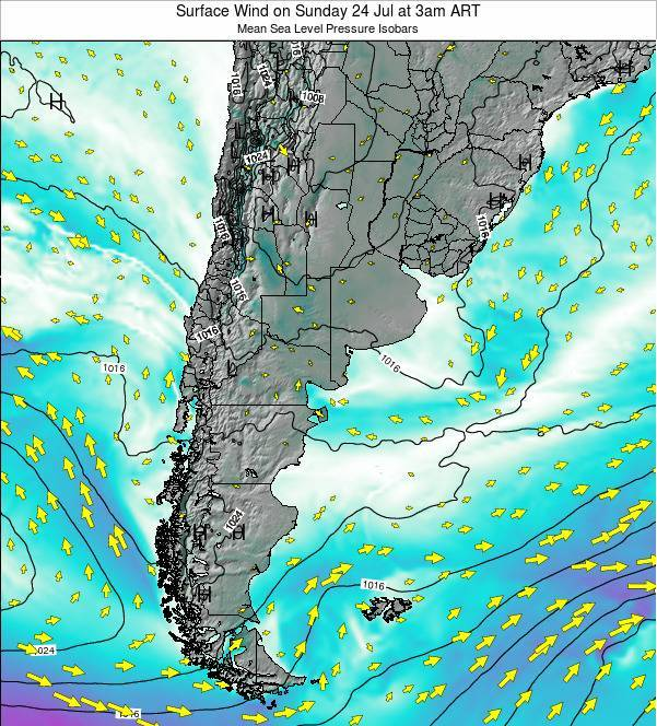 Uruguay Surface Wind on Thursday 20 Jun at 9pm ART map