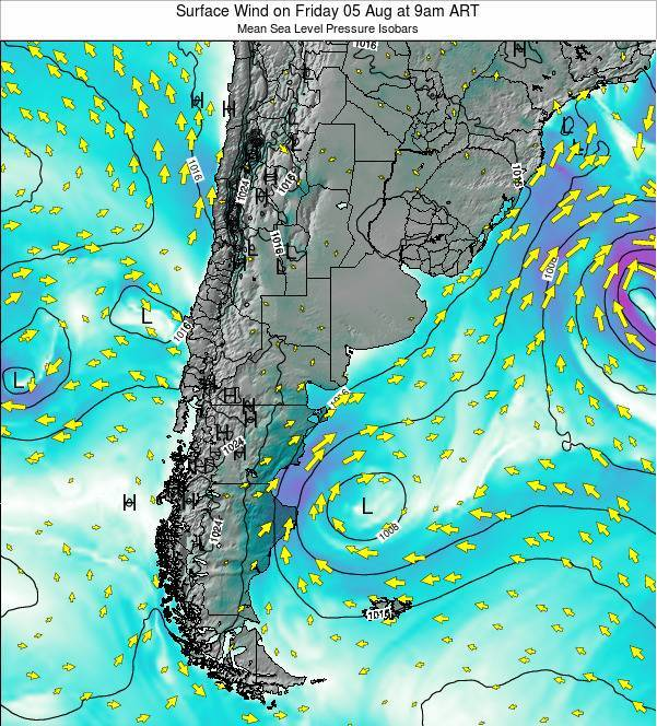 Uruguay Surface Wind on Saturday 25 May at 3pm ART map