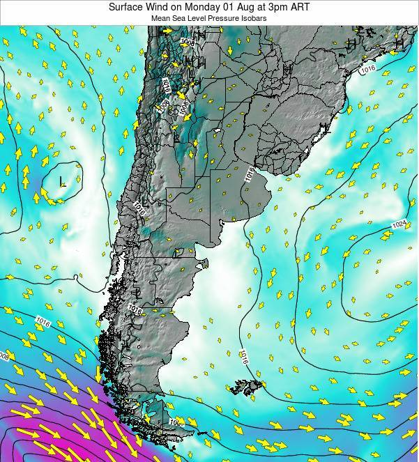 Uruguay Surface Wind on Wednesday 22 May at 9am ART map