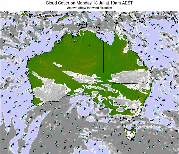 Australia Cloud Cover on Friday 24 May at 4pm EST map