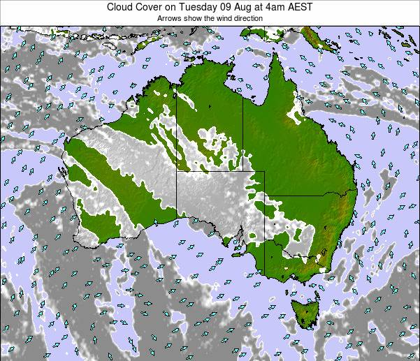 Australia Cloud Cover on Wednesday 26 Jun at 4am EST map