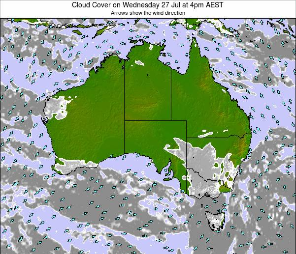 Australia Cloud Cover on Friday 24 May at 10am EST map