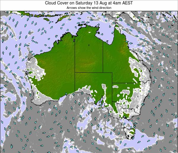Australia Cloud Cover on Tuesday 28 May at 4am EST map