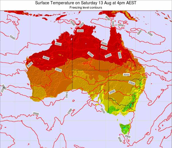 Australia Surface Temperature on Wednesday 26 Jun at 4am EST map