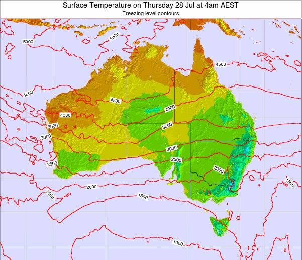 Australia Surface Temperature on Monday 27 May at 4am EST map