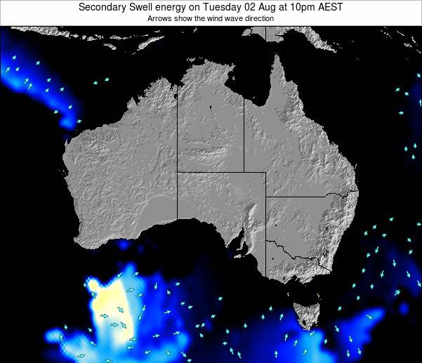 Australia Secondary Swell energy on Monday 28 Jul at 10pm EST