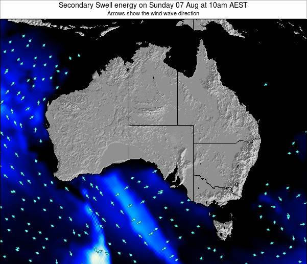 Australia Secondary Swell energy on Monday 04 Aug at 10am EST