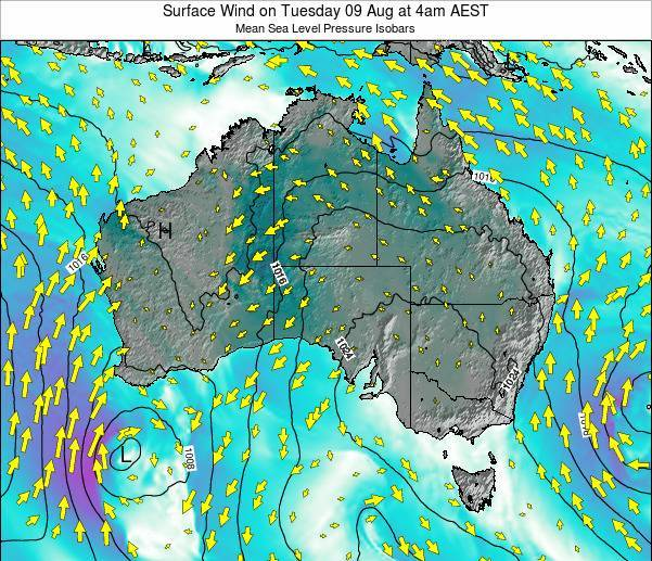 Australia Surface Wind on Wednesday 18 Dec at 5am EST