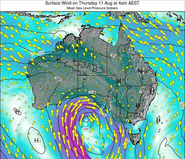 Australia Surface Wind on Thursday 24 Apr at 4am EST