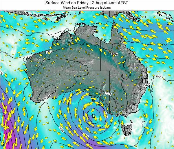 Australia Surface Wind on Saturday 02 Aug at 4am EST